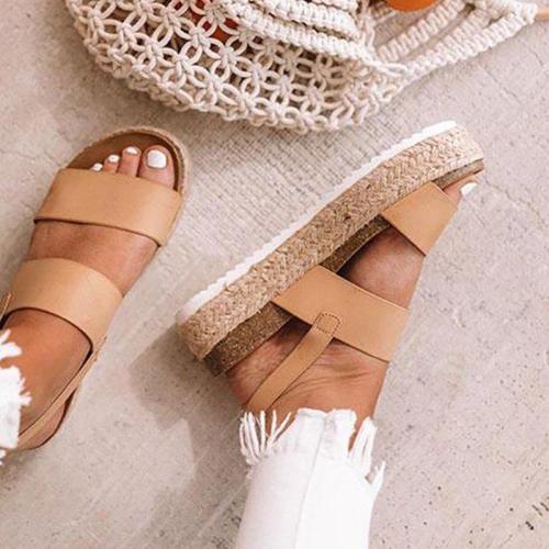 Large Size Platform Grass Sandals