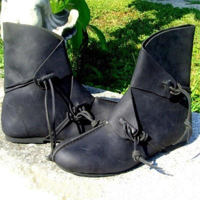 Low Heel Pu Leather Round Toe Plus Size Lace Up Boots