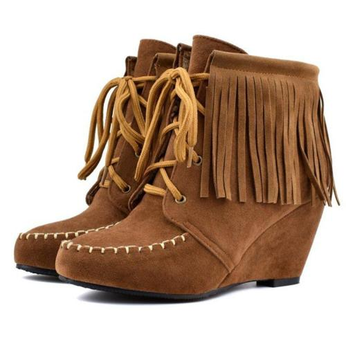 Lace-Up Wedge Heel Tassel Fringe Faux Suede Boots