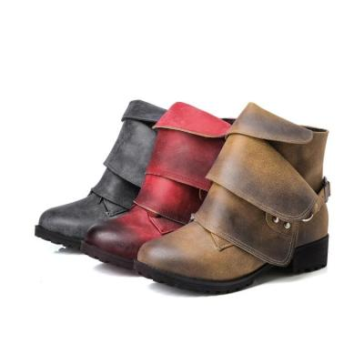 Studded Soft Leather Short Boots Plus Size Women Shoes 1565