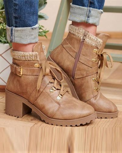 Leatherette Chunky Ankle Boots