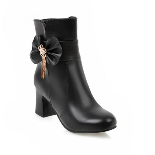 Women's Ankle Boots Fall and Winter Sweet Knot with High Heel Short Boots Shoes