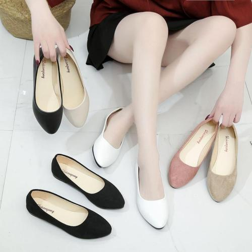 Plus Size 34-43 Women Flats Faux Suede Slip on Flat Shoes Ballet Flats 2019 Loafers Boat Shoes White Ladies Shoes Female  H7571