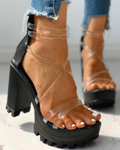 Transparent Multi Strap Platform Chunky Heeled Sandals