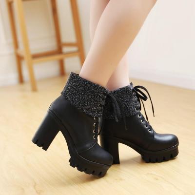 Lace Up Platform Chunky Heels Short Boots Plus Size Women Shoes 8666