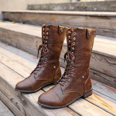 Women Low Heel Boots Casual Lace Up Knight Boots