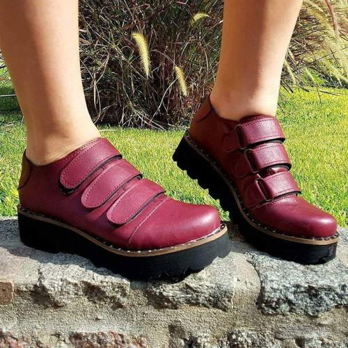 Fashion Pu Leather Magic Tape Loafers Womens Casual Shoes