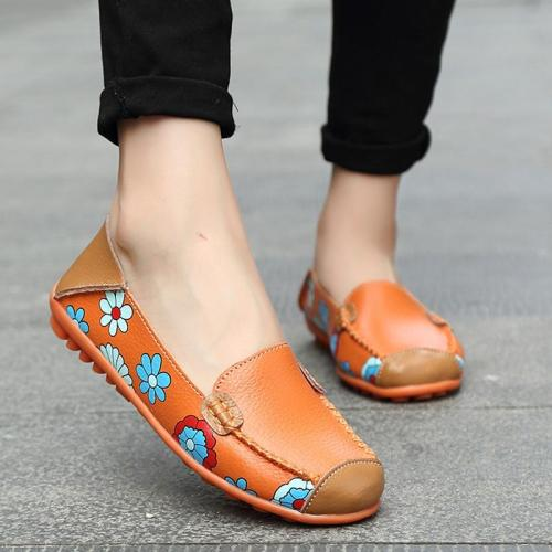 Genuine Leather Shoes Women Plus Size 44 Women Flats For Nurse Ballerina Flat Shoes Slip On Loafers Casual Mocassin Femme