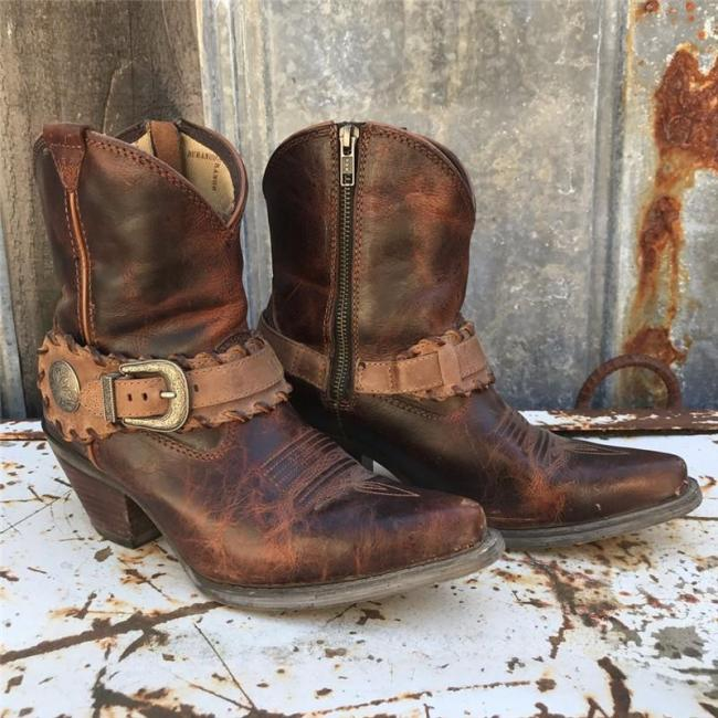 Women Vintage Leather Chunky Heel Zipper Comfy Boots