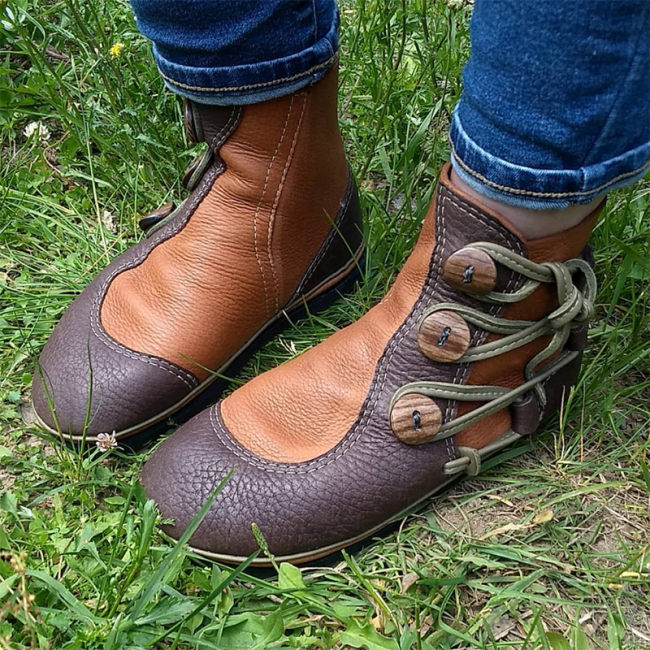 Brown Leather Ruched Holiday Flat Heel All Season Boots