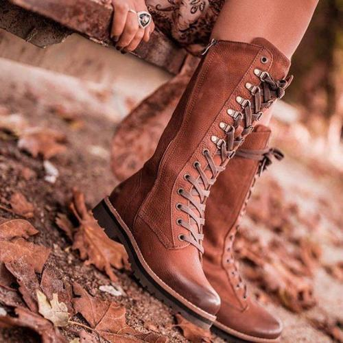 Fashion Low Heel Lace Up Fall Knee Boots