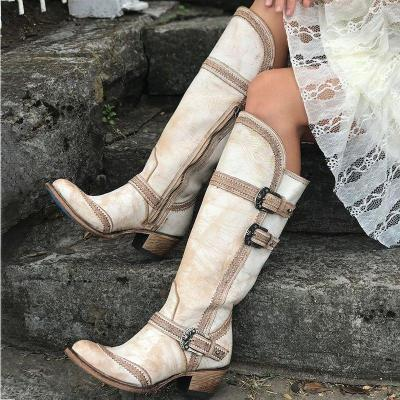 Women Vintage Round Toe Casual Chunky Heel Zipper Knee Boots