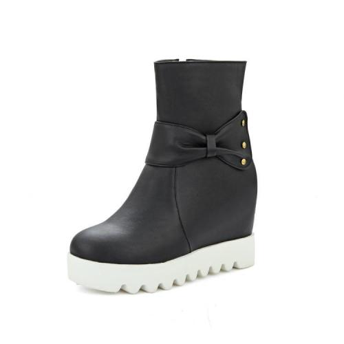 Women's Motorcycle Boots Sweet Thick-soled Increased Bow Ankle Boots