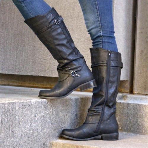 Women Casual Fall Low Heel Zipper Comfy Mid-Calf Boots