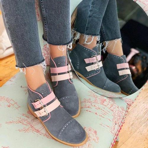 Low heel buckle low tube women's boots