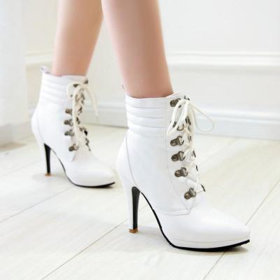 Pointed Toe Lace Up Short Motorcycle Boots Stiletto Heel Plus Size Women Shoes 9502
