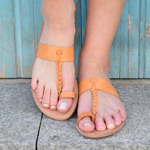 Summer PU Flats Flip-Flops Bohemian Sandals Plus Sizes