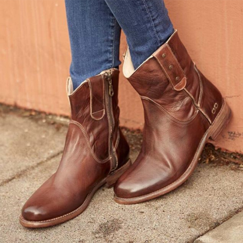 Brown Ruched Low Heel Leatherette All Season Boots