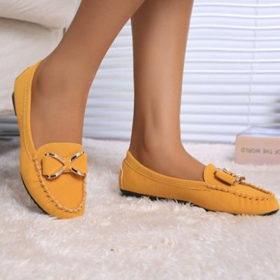 Flat Shoes Women 2019 Bow Knot Flats Women Casual Shoes Solid Slip On Loafers Women Shallow Flat Shoes Black