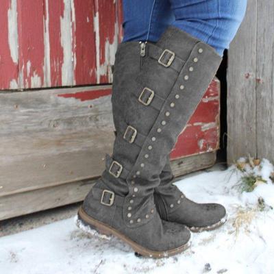 Buckle Decorative Chunky Heel Side Zipper Knee Boots