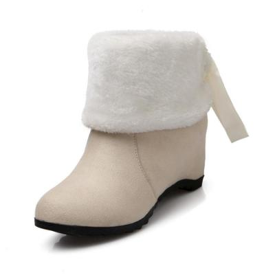 Women's Fur Ankle Boots Wedge Heels Shoes Autumn and Winter 8114
