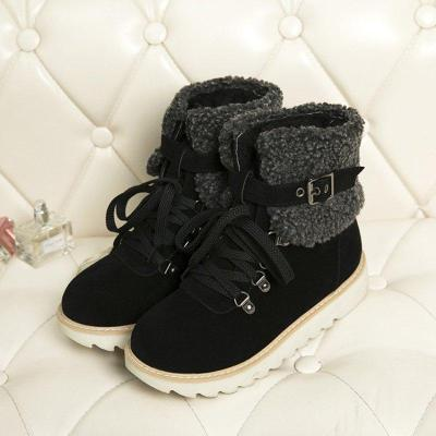 Fashion Adjustable Buckle Snow Boots Lace Up Warm Winter Boots