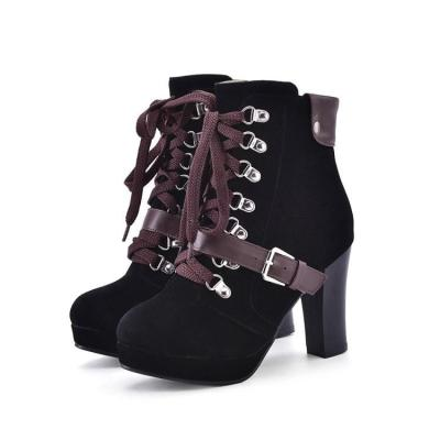 Women's Ankle Motorcycle Boots High Heels Shoes Autumn and Winter 9584
