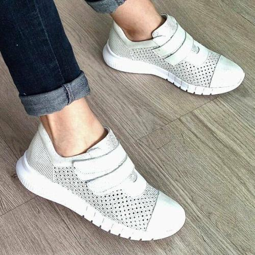 Women Round Toe Magic Tape Fabric Spring Casual Sneakers