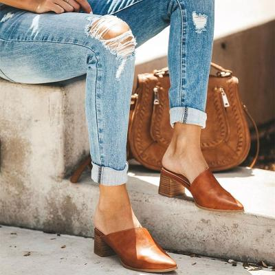 2019 Casual Fashion Artificial Leather Mules Rough Heel Slipper