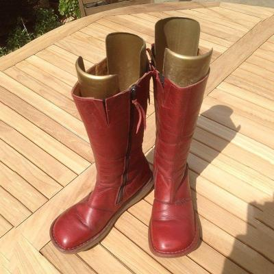 Artificial Leather Flat Heel Zipper Boots Comfortable Mid-Calf Boots