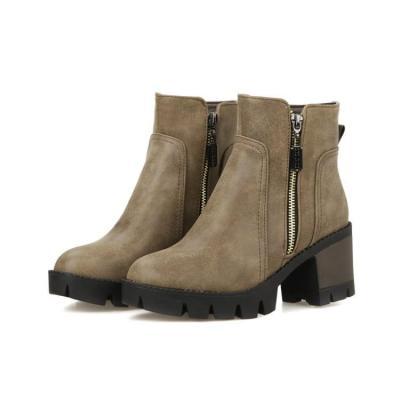 Women Shoes Round Head Zipper Platform Short Boots