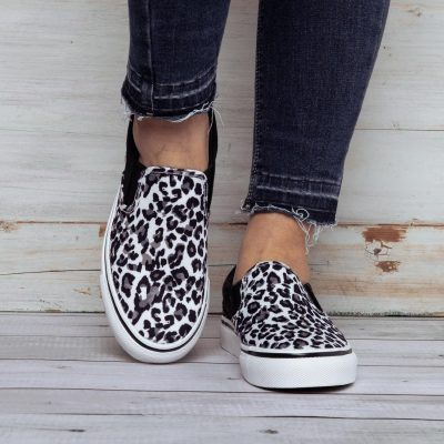 All Season Leopard Canvas Elastic Band Slip-On Loafers