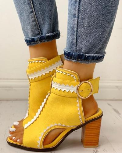 Peep Toe Suede Slingback Chunky Sandals