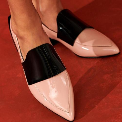 Fashion Mixed Color Pointed Toes Low-Heel Single Shoes