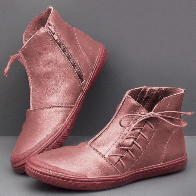 Women's Lace Up Flat Soft Leather Booties