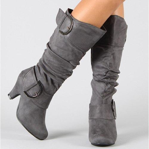 Women Flocking Booties Casual Knee High Ladies Plus Size Shoes