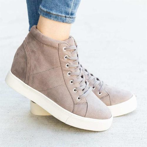 Woman Solid Lace-up Increased Within Wedge Heel Sneakers Ankle Boots
