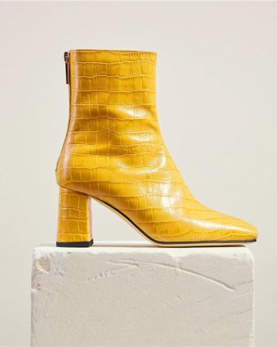 Pointed Toe Chunky Croc Ankle Boots