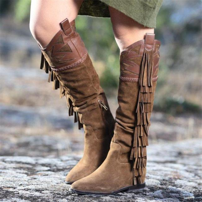 Women Vintage Wedge Heel Calf Boots With Fringes