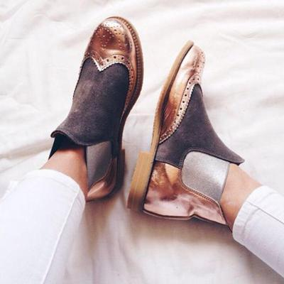 Plus Size Split Joint Chuny Heel Chelsea Boots