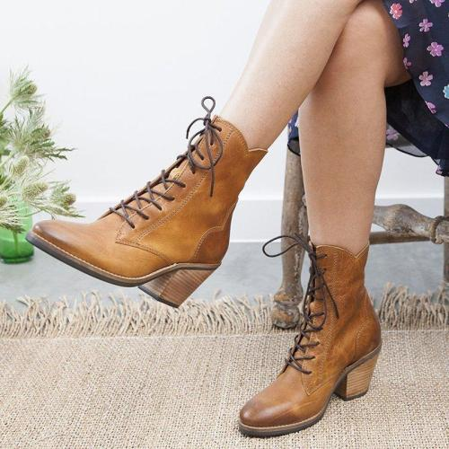 Vintage Pointed Toe Lace-Up Boots Block Heel Women Boots
