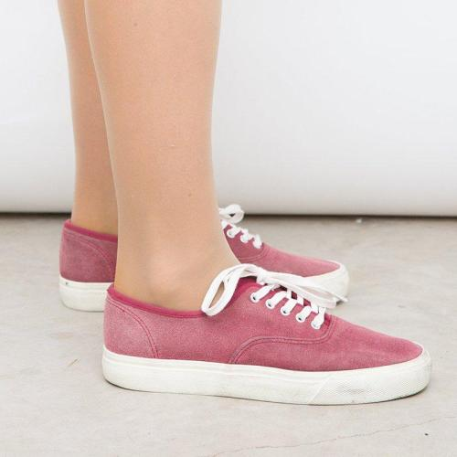 Lace-Up Flat Heel Canvas All Season Casual Sneakers