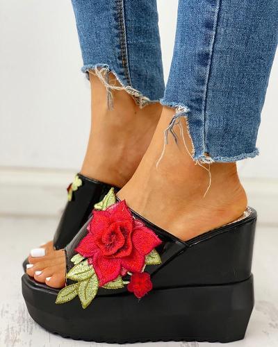 Applique Chunky Platform Sandals