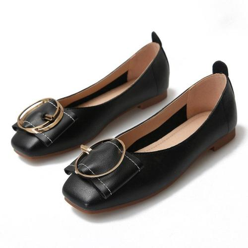 2019 Summer New Women's Small Square Head Buckle Flat Single Shoes Ldies Pregnant Black Office Shoes YX0012