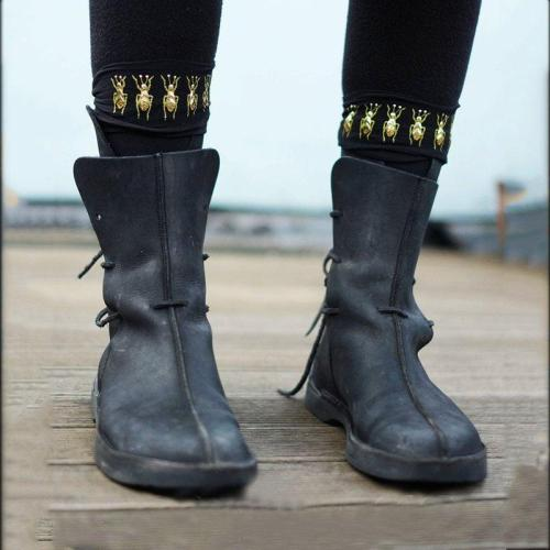 Lace-Up Artificial Leather Flat Heel Knee Boots