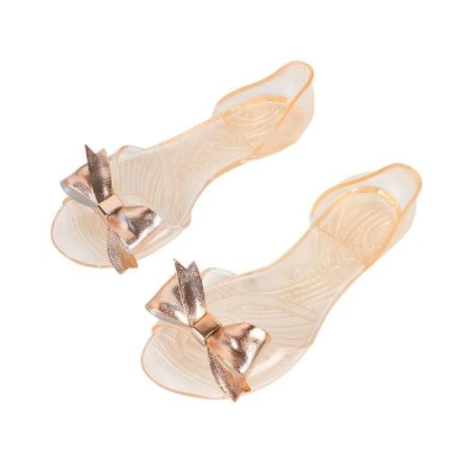 New Fashion Women's Sandals Summer Flat with Fish Mouth Bow Flat Casual Non-slip Jelly Transparent Beach Shoes Women's Slippers