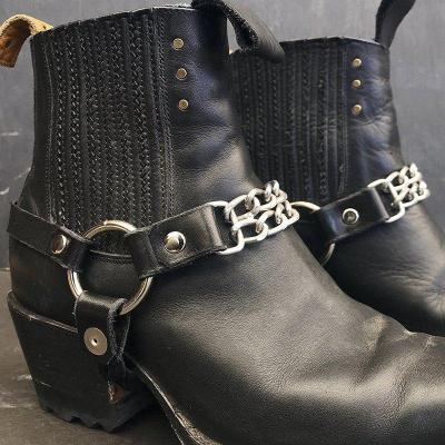 Vintage Block Heel Winter Chain Boots Slip-On Ankle Boots Shoes
