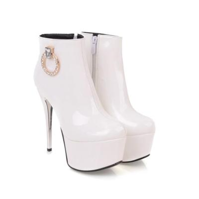 Women Shoes Autumn and Wintersexy Super High Heel Thin Heel Rhinestone Platform Short Boots