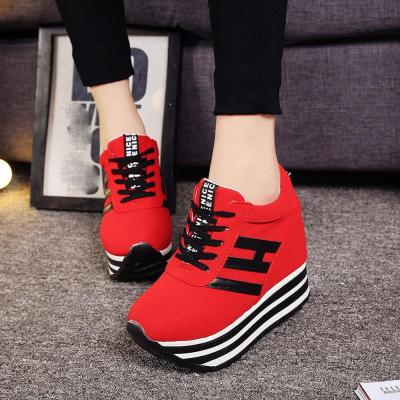 cuteshoeswearWomen Sneakers Fashion Women Height Increasing Breathable Lace-Up Wedges Sneakers Platform Shoes Canvas Woman Casual Shoes Nov 6