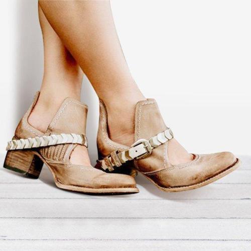 Low Heel PU Cutout Ankle Boots Vintage Adjustable Buckle Booties